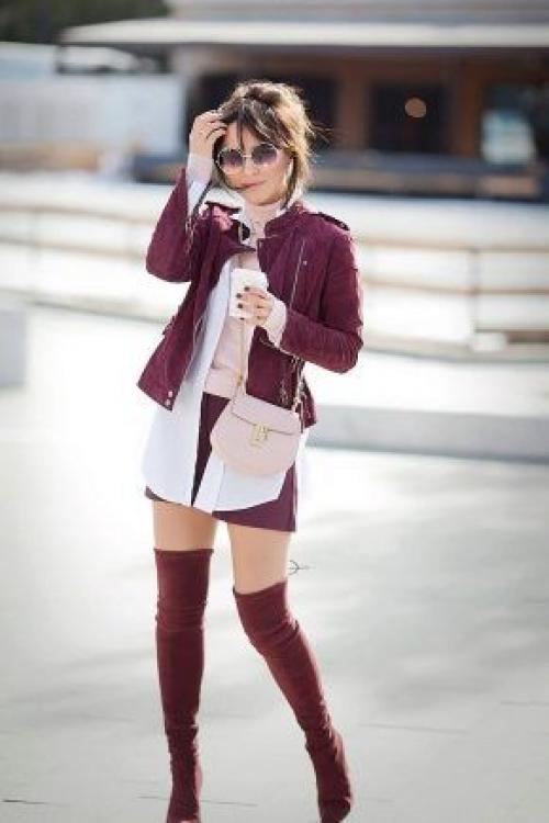 Ботинки цвета марсала с чем носить. Сапоги цвета марсала, с чем носить