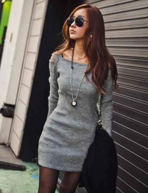 этом образах шерстяными платьями с чем носить фото нить длиной