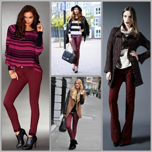 С какими цветами сочетаются бордовые штаны. С чем носить бордовые брюки? Модные сочетания