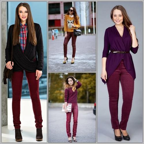С чем носить широкие бордовые брюки. Как выбрать свои брюки бордо