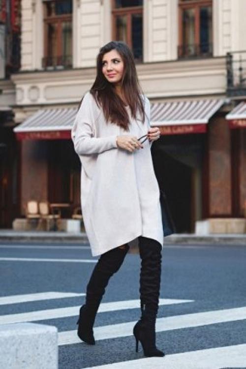 Образы с ботфортами на каблуке. С чем носить ботфорты?