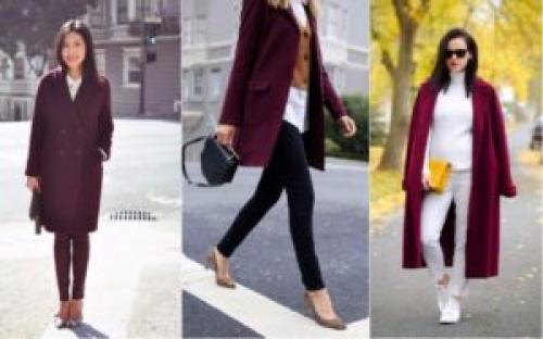 Какой цвет сочетается с бордовым пальто. С чем носить бордовое пальто