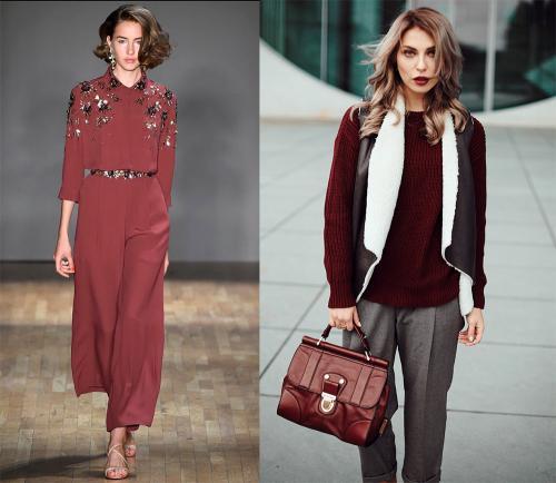 Сочетание цвета марсала с другими цветами в одежде. Цвет марсала: с чем сочетать в одежде?