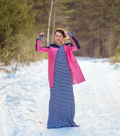 Длинное платье с пальто. Выбор верхней одежды