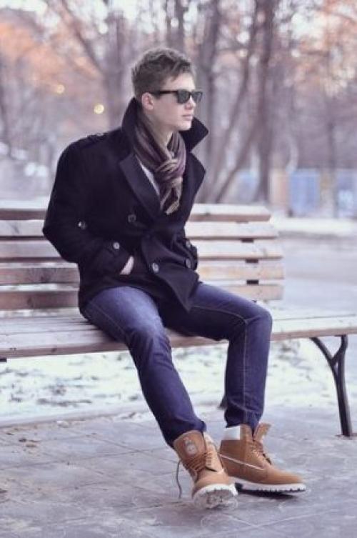 С чем носить бордовые тимберленды. Как мужчинам носить тимберленды зимой