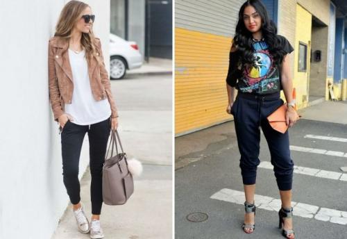С чем носить джоггеры зимой. С чем носить женские джоггеры?