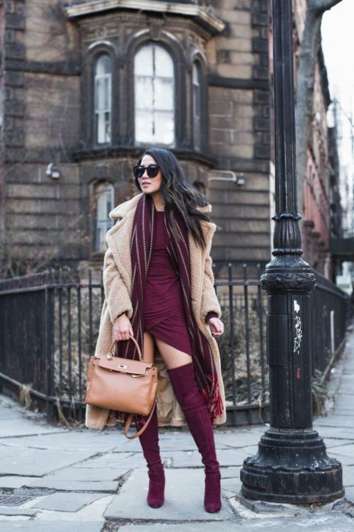 С чем носить ботинки цвета Марсала. С чем носить сапоги цвета марсала: фото